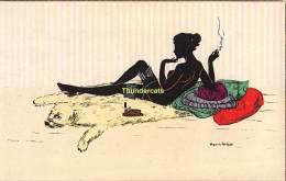 CPA ILLUSTRATEUR MANNI GROSZE ARTIST SIGNED SILHOUET SILHOUETTE CARD FEMME NU NUE NUDE LADY - Silhouettes