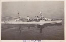CROISEUR TOURVILLE - CARTE VRAIE PHOTO ANCIENNE / OLD REAL PHOTO POSTCARD - ANNÉE / YEAR ~ 1940 (aa321) - Guerra