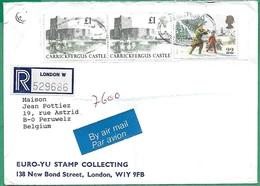 ! - Grande-Bretagne - Enveloppe Avec 3 Timbres - Envoi De London Vers Peruwelz (Belgique) - Carrickfergus Castle - 1952-.... (Elizabeth II)