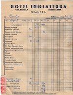 VP13.760 - Facture - 1959 - Hotel Inglatera GRANADA - Espagne