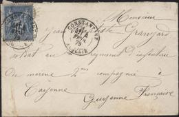 Algérie YT Sage 90 Bleu 15c CAD Constantine 4 2 79 Tarif Pour Militaire à Cayenne Guyane Tarif Territorial Français - Marcophilie (Lettres)