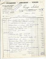 Facture Carignan  Roger Aubert Plomberie Tolerie 1964 - France