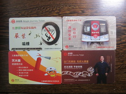 China Shanghai Metro Ticket Card, Fire Prevention, 4  Cards(one With A Scratch,one With Bend) - Firemen