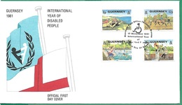 ! - Guernsey - FDC Avec 4 Timbres - International Year Of Disabled People - Complet Avec Note Intérieure - Guernesey
