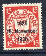 DANZIG 1930 10th Anniversary Of Free City Overprint On 15 Pfg.MNH / **. Michel 222 - Dantzig