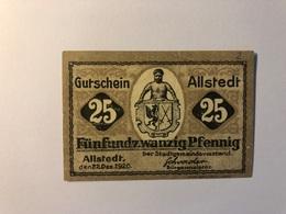 Allemagne Notgeld Allstedt 25 Pfennig - [ 3] 1918-1933 : République De Weimar