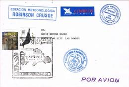 30958. Carta Aerea JUAN FERNANDEZ (Chile) 1991. Isla Robinson CRUSOE, Estacion Meteorologica - Chile