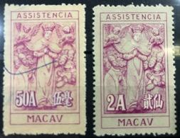 MACAU, 1947-1958 MERCY TAX STAMPS  X 2, USED - Macao