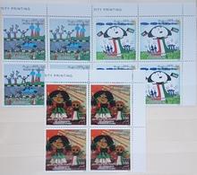 DE23- Kuwait 2010 Mi. 1969-1971 Cplte Set 3v. MNH - 19th Anniv Liberation - Matching Corners Blks/4 - Kuwait