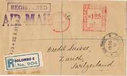 30964. Carta Certificada Aerea COLOMBO (Ceylan) 1951 To Suisse - Sri Lanka (Ceilán) (1948-...)