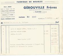 Doc Facture  Fabrique De Meubles  Gerouville Freres  Floing 1954 - France