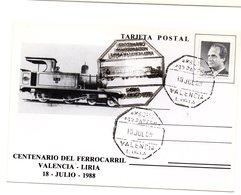 Tarjeta Con Matasellos Commemorativo Centenario Inaguracion Linea Valencia-liria Matasellos Ambulante. - 1931-Hoy: 2ª República - ... Juan Carlos I