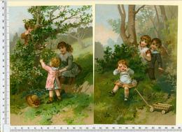 2 CHROMOS LITHOGRAPHIES....GRAND FORMAT...H  19 Cm   JEUX D' ENFANTS AU JARDIN - Vieux Papiers