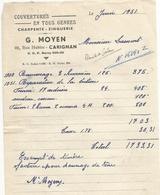 Doc Facture  Couverture   G. Moyen  Carignan   1951 - France
