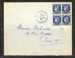 LOT 1812276 - N° 486 (BLOC DE 4) SUR LETTRE DE PARIS DU 29/11/40 - 1921-1960: Modern Period