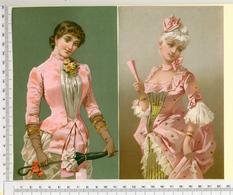 2 CHROMOS LITHOGRAPHIES...GRAND FORMAT...H  19 Cm   FEMME AVEC UNE OMBRELLE OU UN ÉVENTAIL - Vieux Papiers