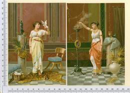 2 CHROMOS LITHOGRAPHIES...GRAND FORMAT...H  16 Cm   FEMMES  EPOQUE ROMAINE - Vieux Papiers