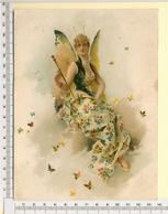 CHROMO LITHOGRAPHIE...GRAND FORMAT...H  18 Cm   FEMME PAPILLON - Vieux Papiers