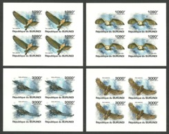 BURUNDI 2011 BIRDS OWLS DELUXE SHEETS IMPERF MNH - Burundi