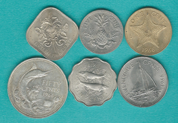 Bahamas - Elizabeth II - 1966 - 1, 5, 10, 15,25 & 50 Cents (KMs 2-7) - Bahamas
