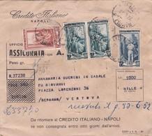 BUSTA VIAGGIATA ASSICURATA RACCOMANDATA - CREDITO ITALIANO NAPOLI - AFFRANCATA PER LIRE. 170 CON PERFORAZIONE - 1952 - 1946-60: Marcophilia
