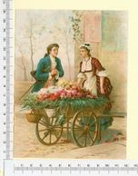 CHROMO LITHOGRAPHIE...GRAND FORMAT...H  16 Cm   MARCHANDE DE FLEURS - Vieux Papiers