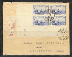 LOT 1812283 - N° 458(BLOC DE 4 MILLESSIME 12.4.39) SUR LETTRE RECOMMANDEE DE METZ DU 07/07/39  POUR LA SUISSE - 1921-1960: Modern Period