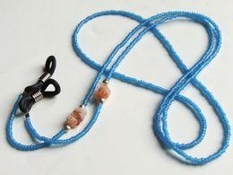 Cordon à Lunettes Artisanal Bleu, Perles Japonaises, Miyuki Delica,15/0, Mat Trans Capri Blue AB, Pierre De Soleil Natur - Bijoux & Horlogerie