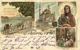Egypt, CAIRE CAIRO, River Nile, Arab School Mosque Islam (1901) Litho Postcard - Le Caire