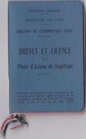 Brevet, Licence , Carnet De Vol 1938  De Pilote D' Avions De Tourisme En EXCELLENT ETAT, Voir Les 12 Scans - Transporto