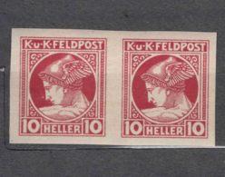 Austria, Austrohungarian Empire Feldpost 1916 Mi#51 U - Imperforated Pair, Mint Hinged - Unused Stamps