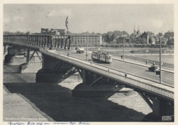 Tram/Strassenbahn Düsseldorf,Oberkasseler Brücke,1953 Gelaufen - Strassenbahnen