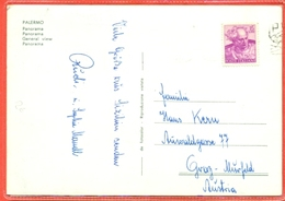 STORIA POSTALE- LIRE 15 MICHELANGIOLESCA  - DA PALERMO PER L'AUSTRIA - 6. 1946-.. Republik
