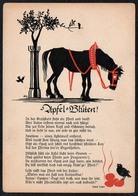 C1084 - Hans Hoffmann Köln Glückwunschkarte Pferd - Liedkarte - Scherenschnitt - Silhouette