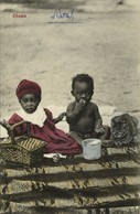 South Africa, Native Girl, Boy And Cat Having A Picnic, Chums (1910s) Postcard - Africa