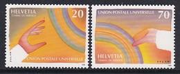 PAIRE NEUVE DE SUISSE - UNION POSTALE UNIVERSELLE : OEUVRES ORIGINALES DE JEAN-MICHEL FOLON N° Y&T SERVICE 474/475 - U.P.U.