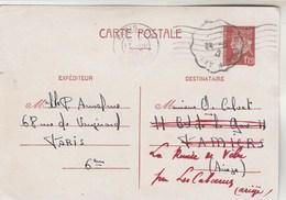 Yvert  515 CP1  Pétain PARIS 25 R Danton 17/8/1942 à La Remise De Vèbre Ariège Cachet Ambulant  Ax Les Thermes Toulouse - Entiers Postaux