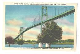 US Canada Thousand Islands International Bridge St Lawrence River Vintage Linen Postcard - NY - New York