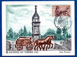 Carte Premier Jour  /  Journée Du Timbre 1963 / Char Romain / Bourges / 16-3-63 - Cartes-Maximum