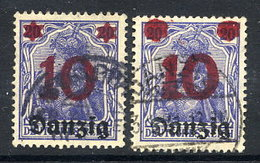 DANZIG 1920 Surcharge 10 On 20 Pfg. Deformed Overprint, Used.  Michel 14 - Danzig