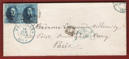 Belgio 1854 20c. Unif.7 Coppia/pair Su Busta Da Bruxelles A Paris 16/04/54 VF/F - 1851-1857 Medaillen (6/8)