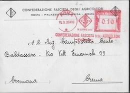 STORIA POSTALE REGNO - ANNULLO MECCANICO ROSSO - CONFEDERAZIONE FASCISTA  AGRICOLTORI - 15.09.1939 SU STAMPA - Affrancature Meccaniche Rosse (EMA)