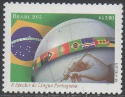 BRAZIL, 2014, MNH, EIGHT  CENTURIES OF PORTUGUESE LANGUAGE, FLAGS, 1v, - Languages