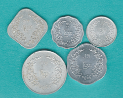 Myanmar / Burma - BE1328 (1966) - Aung San - 1, 5, 10, 25 & 50 Pyas (KMs 38-42) - Myanmar