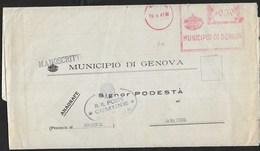 STORIA POSTALE REGNO - ANNULLO MECCANICO ROSSO - MUNICIPIO DI GENOVA - 19.08.1941 SU PIEGO PER SARACENA (CS) - Affrancature Meccaniche Rosse (EMA)