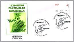 Matasellos Exposicion Filatelica MANOS CURTIDAS - HARDENED HANDS. Ribadesella, Asturias, 2016 - 1931-Hoy: 2ª República - ... Juan Carlos I
