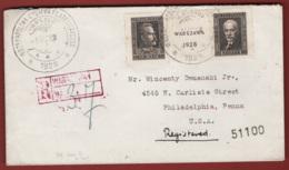 Polonia 1928 Esposizione Filatelica Unif. 254/55 Su Busta Raccomandata Da Varsavia A Philadelphia 3/5/28 VF - Briefe U. Dokumente