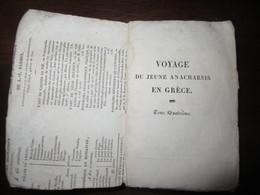 VOYAGE DU JEUNE ANACHARSIS EN GRECE PAR J J BARTHELEMY TOME IV 1824 - Books, Magazines, Comics