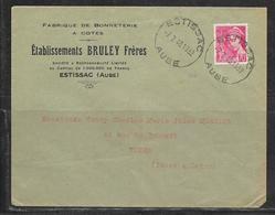 LOT 1812296 - N° 416 SUR LETTRE DE ESTISSAC DU 07/02/40 POUR TOURS - BONNETERIE BRULEY - Poststempel (Briefe)