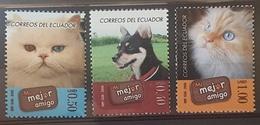 DE23- Ecuador - Mail 2006 Yvert 1993/5 Mnh Fauna. Dogs Cats - Ecuador